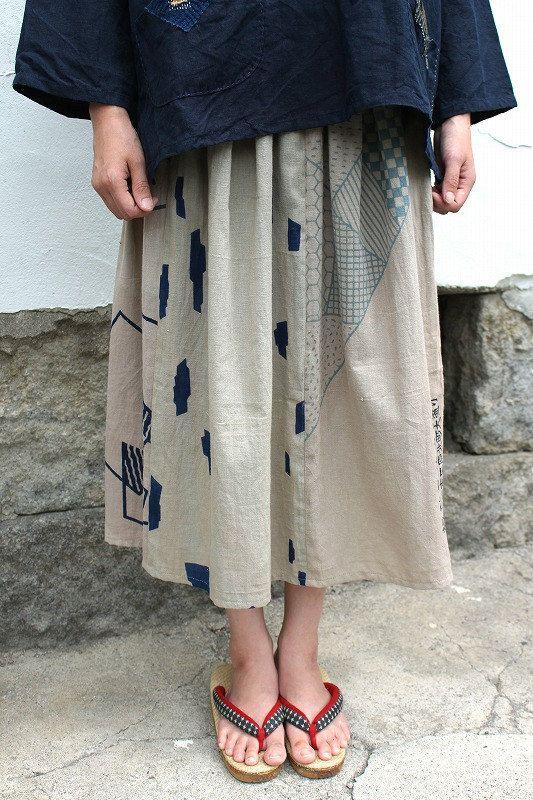 Japanese vintage TENUGUI skirt/brown/Japanese vintage hand towel/hand…