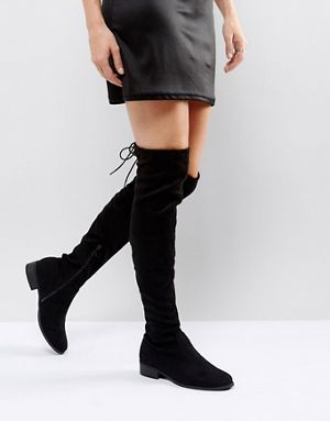 a96a12f5c98 Public Desire Black Flat Tie Back Over The Knee Boot