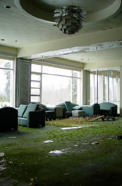 Lobby, Pines Hotel (Catskills, NY). Built in 1933, this ski resort eventually closed its doors in 1998.