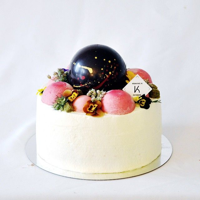 Cloud Cake by Kraving K | Raspberry mousse domes, chocolate sphere with surprises//