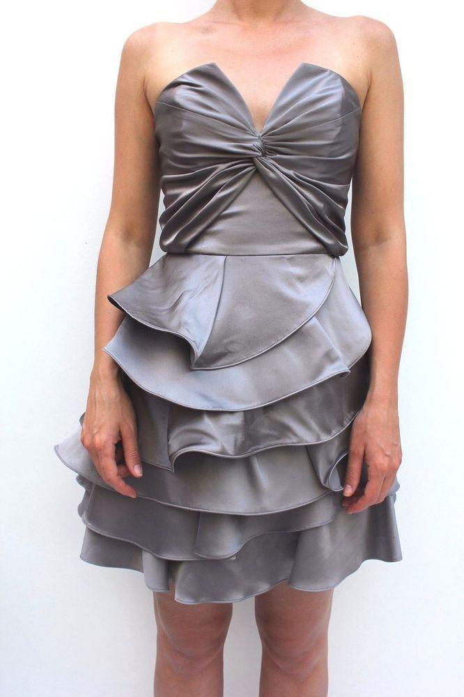 6fa967d84d Karen Millen Satin Prom Frill Silver Dress DK247 Bandeau Cocktail 8 36   KarenMillen  BallgownPromDress  Party