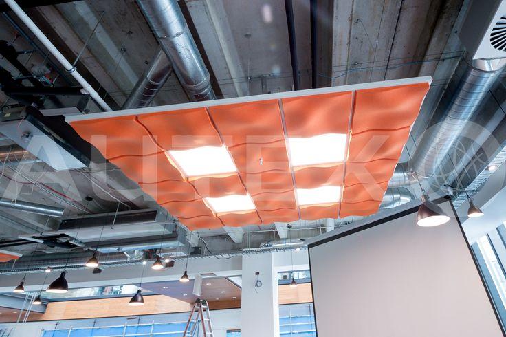 Autex Interior Acoustics - Quietspace® 3D Ceiling Tiles - Kotahi Logistics Auckland, NZ - S-5.26 colour Brilliant Orange - Direct fix to ceiling