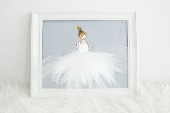 Little Princess in white tutu, nursery artwork by ShenasiConcept, ballerina, girl's room
