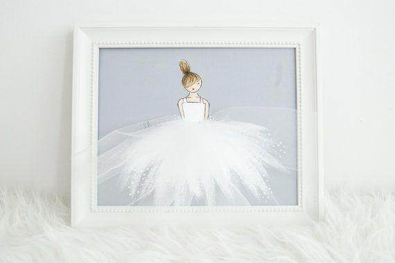 Little Princess in white tutu, nursery artwork by ShenasiConcept, ballerina, girl's room