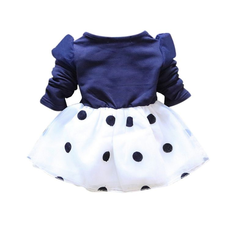 1-5Y Summer Baby Girls Bowknot Polka Dot Party Tutu Dress Puffy Dresses 2016 NEW #Affiliate