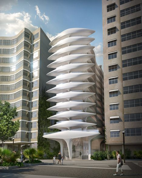 Zaha Hadid's first Brazilian building designed for Copacabana Beach.