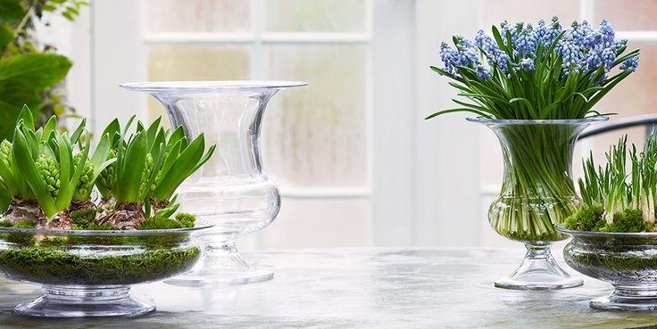 Forårsnyhed, vaser, blomsterskål, dansk design, smuk, Old English serie, Holmegaard