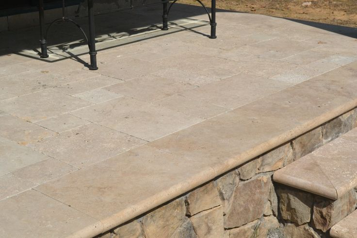 Beige Travertine #Flagstone will complete your #patio in the #backyard. Like this pin and leave a comment! | Rockville, MD | Irwin Stone