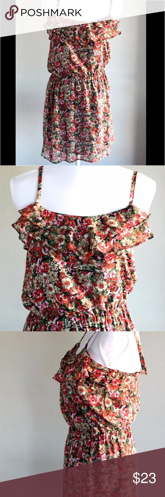 MNG By Mango Sleeveless Floral Dress Size 4 MNG By Mango collection dress. Beautiful floral flower design in colors of red, pink, beige and green. Size 4. New with tags attached Mango Dresses Midi