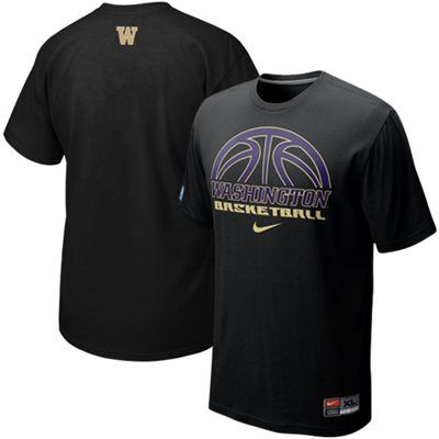 Nike Washington Huskies Basketball Practice T-Shirt - Black