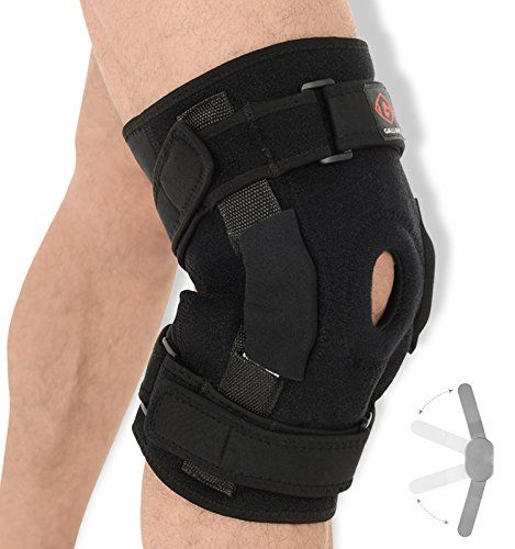 From 9.99 Gallant Medium (35 - 40cm) Hinged Knee Support - Dual Stabilized Hinges With Open Patella Design Helps Injured Arthritis Knee Strain Sprains Instability Pains / Adjustable Breathable Neoprene