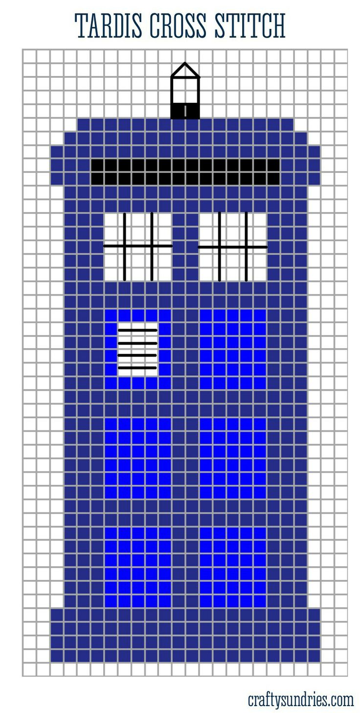 tardis cross stitch pattern but could be transferred to a punchcard for some epically geeky knitting