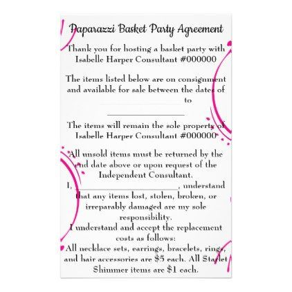 Paparazzi Basket Party Agreement For Mini Binder Flyer Paparazzi