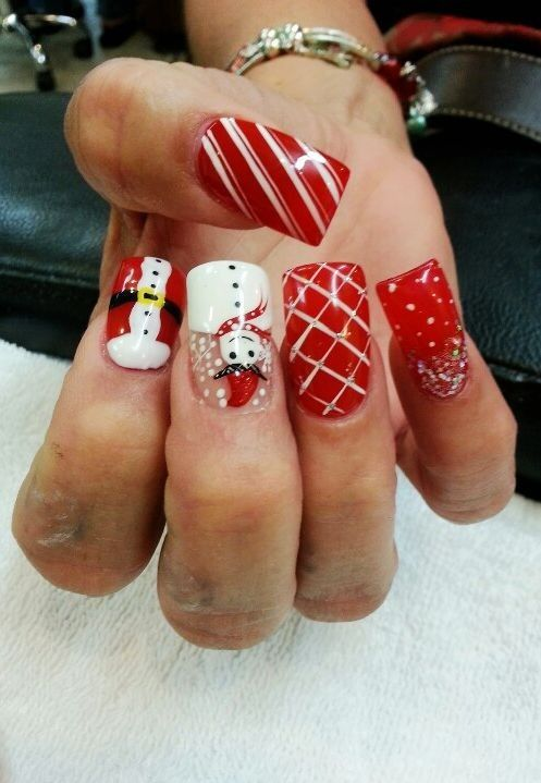 Acrylic Christmas nails design, Snowman Acrylic Christmas nails for girls #christmas #nail #art www.loveitsomuch.com