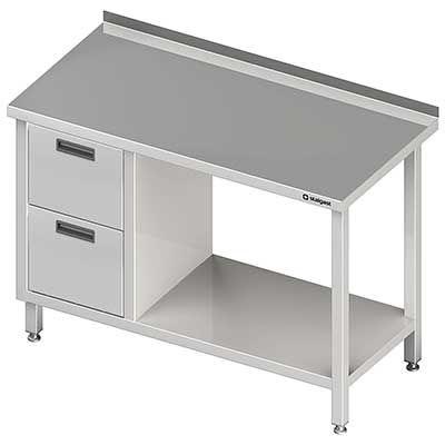 Stół przyścienny z blokiem dwóch szuflad(l) i półką meble nierdzewne