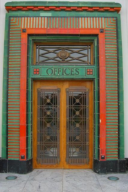 Art Deco Entrance Door. Main Entrance door to the India of Inchinnan Building in…
