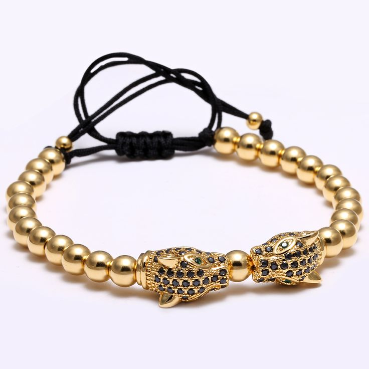 Mcllroy Brand Men Bracelets, Gold Round Beads & Leopard Head Beads Braided Macrame European American Weaving Bracelets For Men