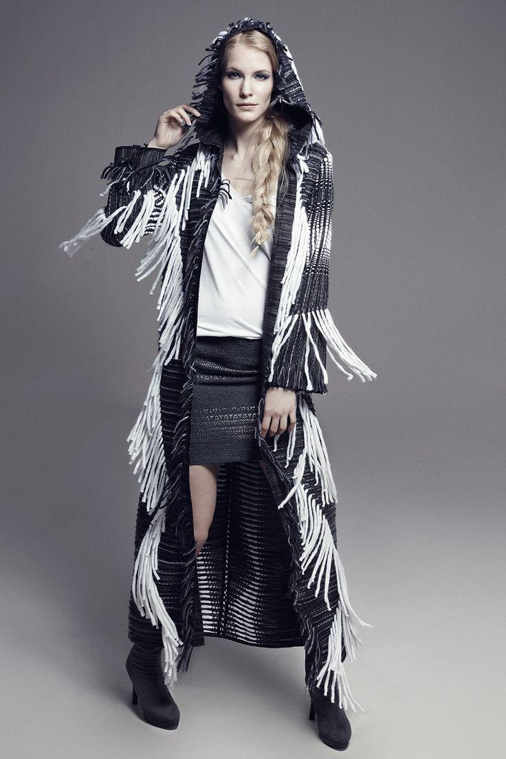 CARLY - Hooded & Fringed Long-Sleeve Tweed Coat