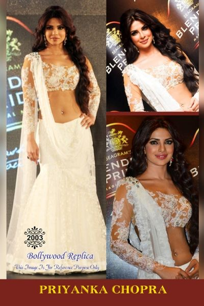 Priyanka Chopra Bollywood Replica White Net Lehenga Saree with Embroidery