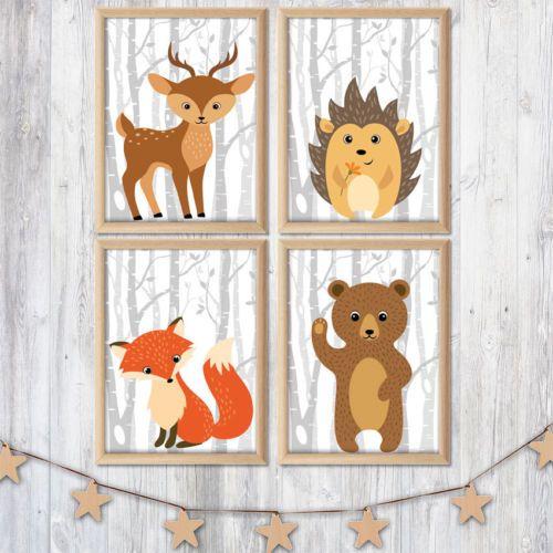 ✿ Kunstdruck Bild SET Wald Tiere Hirsch Igel Fuchs Bär Kinderzimmer Deko A4 Neu | eBay
