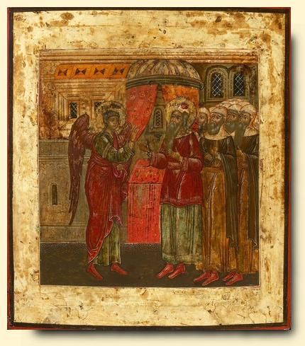 Archangel Gabriel appearing to Zacharias - exhibited at the Temple Gallery, specialists in Russian icons