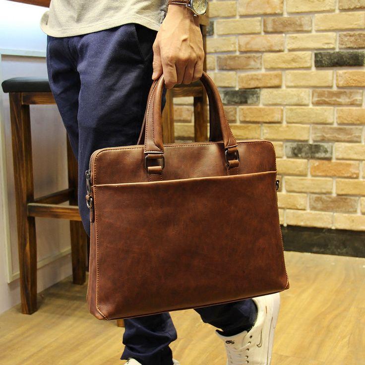 New Vintage Style Crazy Horse PU Leather Men Briefcase Bag Solid Office Men Business File Bag Laptop Handbag Fashion Coffee