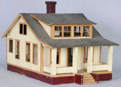 1930s (ca) Vintage tin folk art dollhouse, American Craftsman Bungalow | Source: Prices 4 Antiques