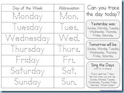 Lots of free printables for learning days of the week, numbers, months, shapes, weather and seasons, and more.