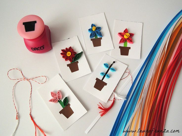 quilling for kids - flower pots