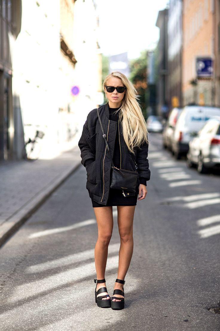 20 Ways to Pull Off Platforms This Spring  - a black bodycon mini dress, sporty nylon jacket, mini cross body bag + chunky platform sandals