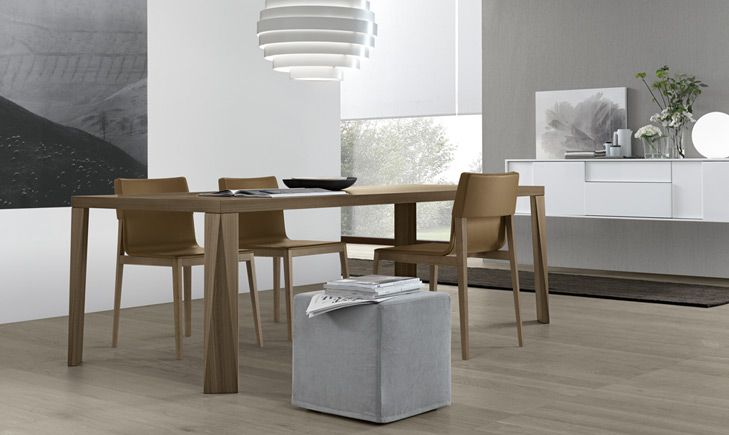 LYL dining chair.  Pick your fabric or leather, walnut or tobacco oak wood.  Mid century style modernized by JESSE of Italy.  www.pomphome.com