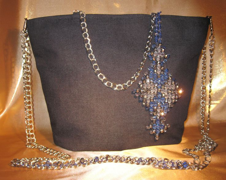"""Chrystal"": cotton, Check glass beads stichery"