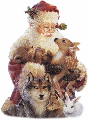 Santa with forest animals | Santa Claus | Pinterest ...