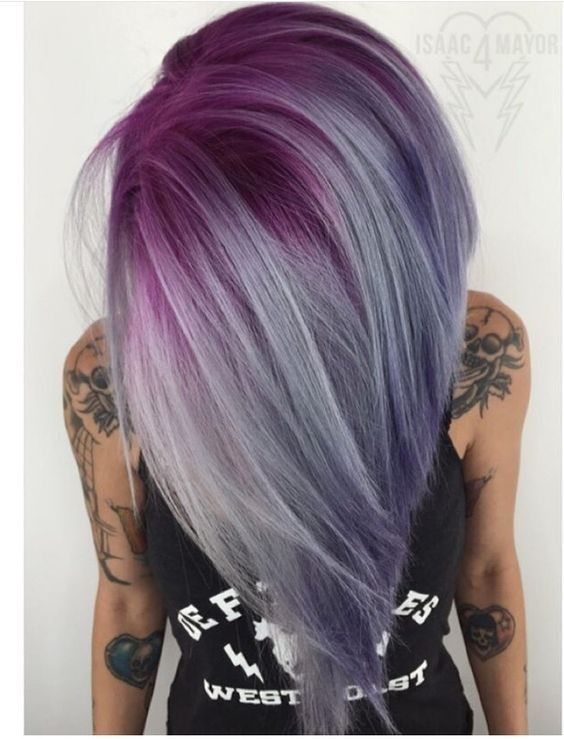 Ombre, Balayage Hairstyles with Straight Hair - Hot Pink, Amethyst Purple and Silver