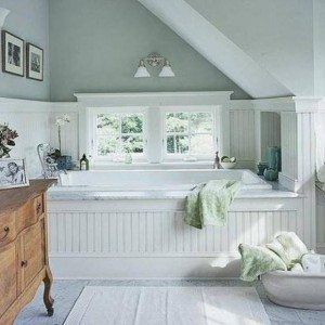 Pictures In Gallery Cottage Bathroom With White Beadboard Wainscoting In Bathroom And Wooden Linen Sideboard And Mirror And Sconces