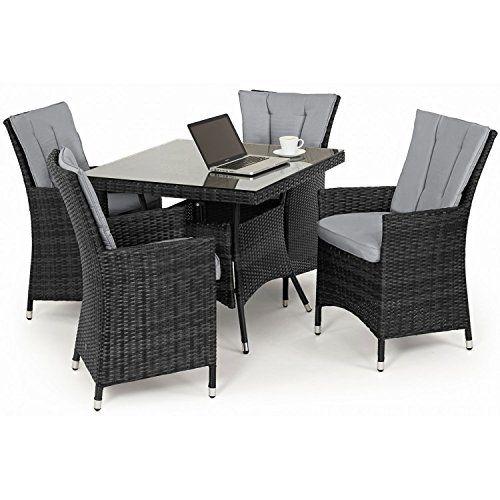 san diego rattan garden furniture grey 4 seater square table set
