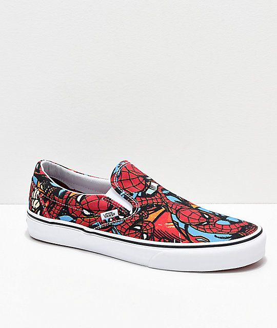bb62b7b5932a2f Vans x Marvel Slip On Spiderman Red   Blue Shoes in 2019