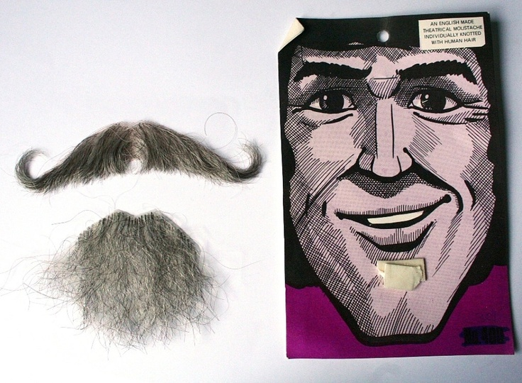 Mustache and goatee, human hair, theatrical make up, disguise. $16.50, via Etsy.