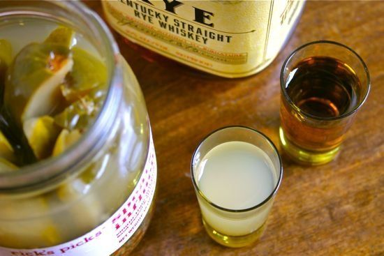 """There's a new drink combo that's been springing up on bar menus across the country: The Pickleback. Yes, that's right - a shot of whiskey accompanied by a """"back"""" of pickle juice. This week, with side-by-side measures of skepticism and curiosity, I gave this unlikely pairing a shot."""