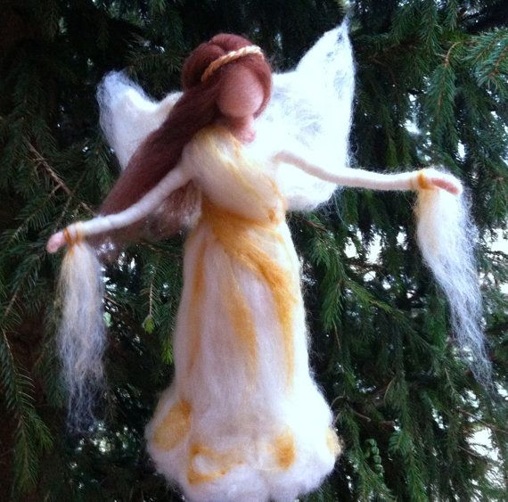 Needle Felted Angel Tree Topper Waldorf by ClaudiaMari on Etsy, $90.00