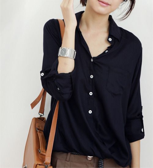 .: Fashion Shoes, Chic Outfits, Casual Style, Buttons Up, Brown Bags, Black Blouses, Casual Outfits, Navy Blouses, My Style