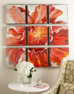 here's my take:  one floral poster, cut up into equal squares; equal number of canvas frames; mod podge poster cutups to frames; hang.  Voila!  Art deco!  :)