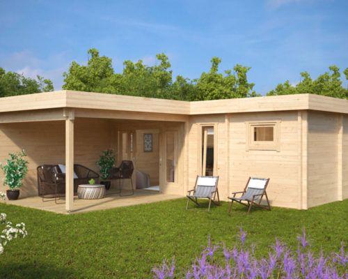 Gartenhaus mit sauna a 22m2 70mm 3x7 garten for Holzhaus kleinhaus