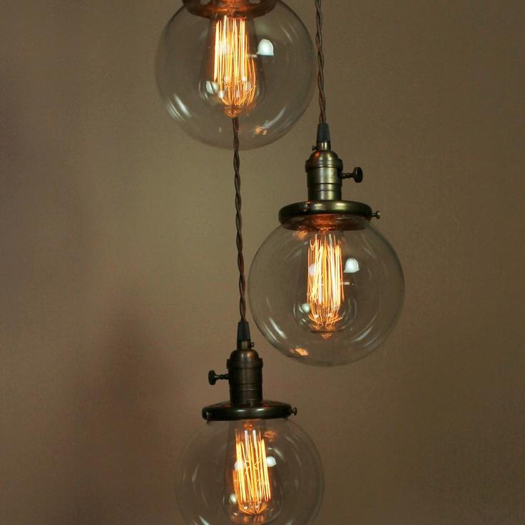 edison bulb chandelier lowes brushed nickel light cascading pendant lights clear glass globes exposed socket design bulbs