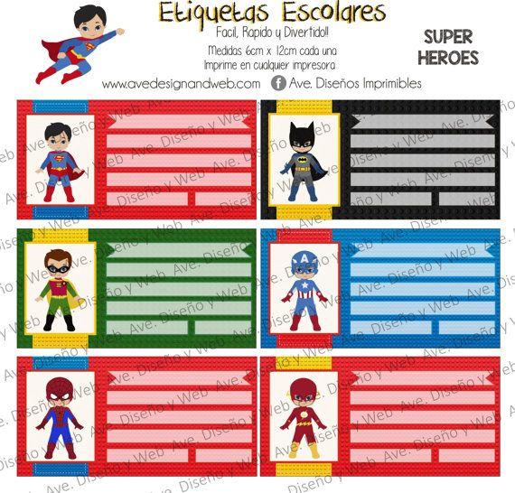 Super Heroes Marvel Etiquetas para por AVeDisenoImprimible en Etsy