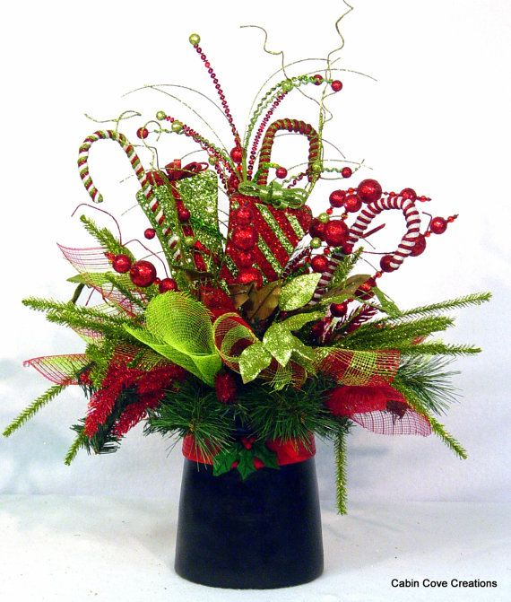Christmas Top Hat Centerpiece Floral by cabincovecreations on Etsy.