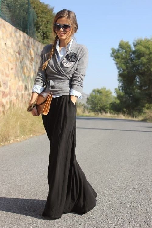 Grey sweater with black maxi and brown purse