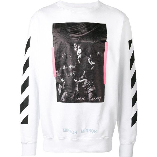Off-White Caravaggio print sweatshirt (5315 MAD) ❤ liked on Polyvore featuring men's fashion, men's clothing, men's hoodies, men's sweatshirts, white, mens white sweatshirt, mens crew neck sweatshirts, mens crewneck sweatshirts and mens oversized sweatshirt
