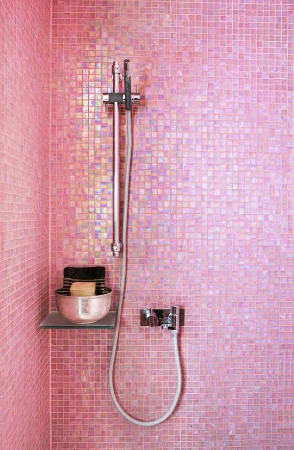 The Decorista-Domestic Bliss: needing. wanting. loving. COLORED BATHROOM TILEBathroom Design, Little Girls, Pink Tile, Pink Shower, Glasses Tile, Tile Shower, Tile Bathroom, Mosaics Tile, Pink Bathroom