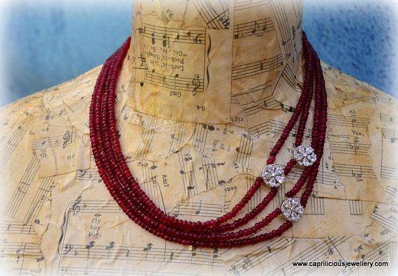Brazilian ruby diamante diamante clasp diamante flower